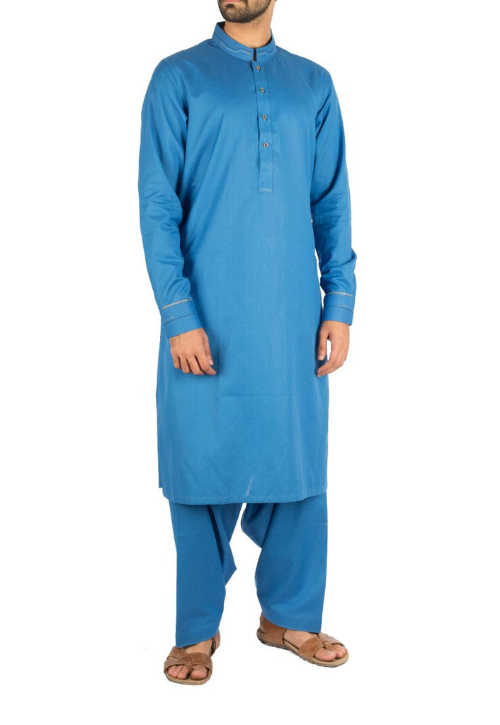 Cobalt Blue Shalwar Qameez suit in 100% Cotton with Thread work. Product code - RQ-16228
