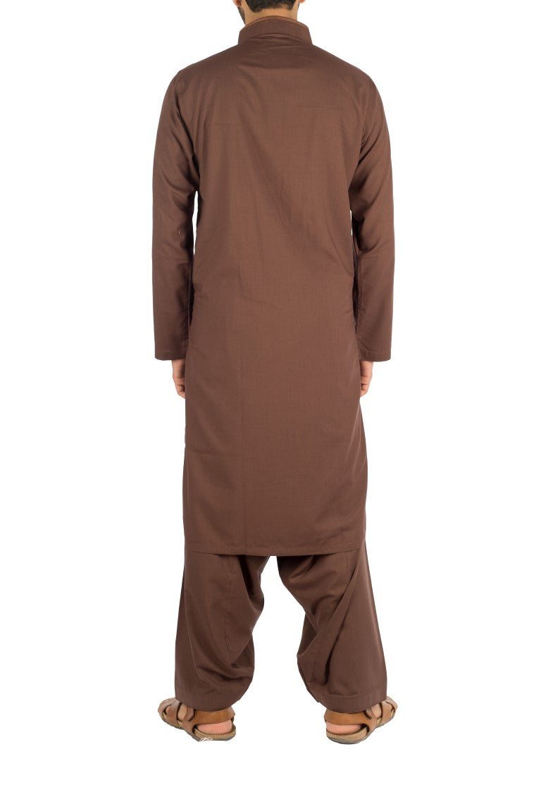 Image of Men Men Shalwar Qameez in Chocolate Brown SKU: RQ-16234-Small-Chocolate Brown