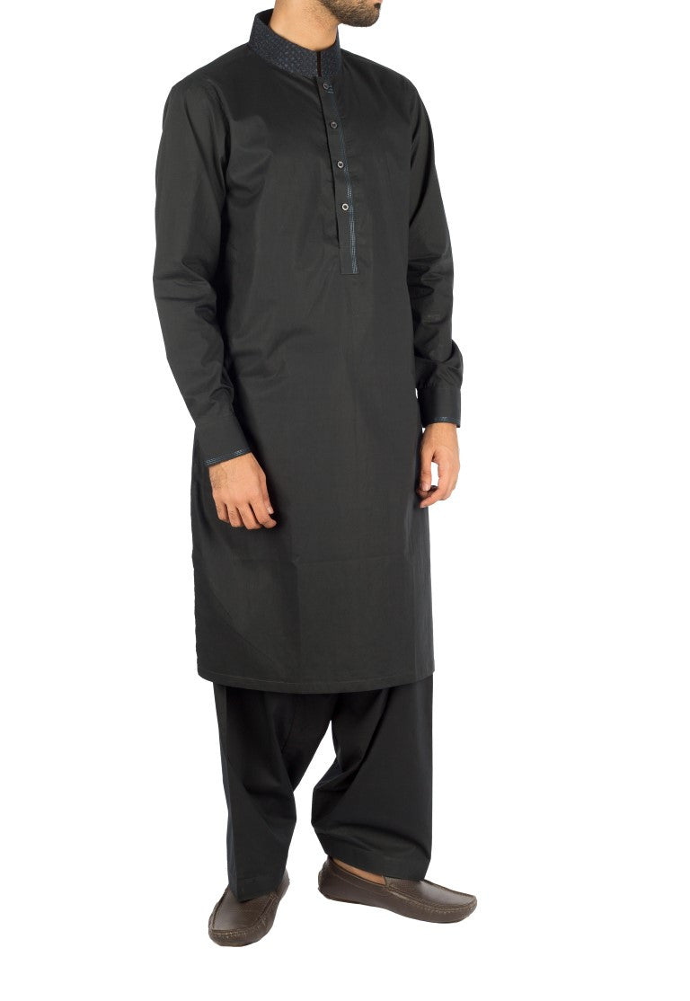 Image of Men Men Shalwar Qameez Midnight Blue Shalwar Qameez suit in Cotton fabric with Embroidery and thread work. Product Code RQ-16243