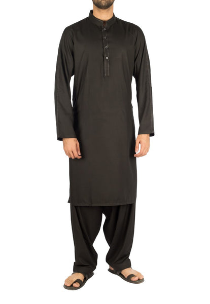Image of Men Men Shalwar Qameez Black Shalwar Qameez suit in Blended fabric with Thread work. Product Code RQ-16248