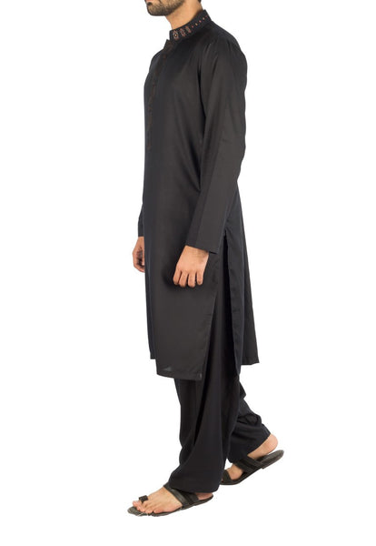 Black Shalwar Qameez suit in Blended fabric with designer embroidery. Product Code RQ-16250