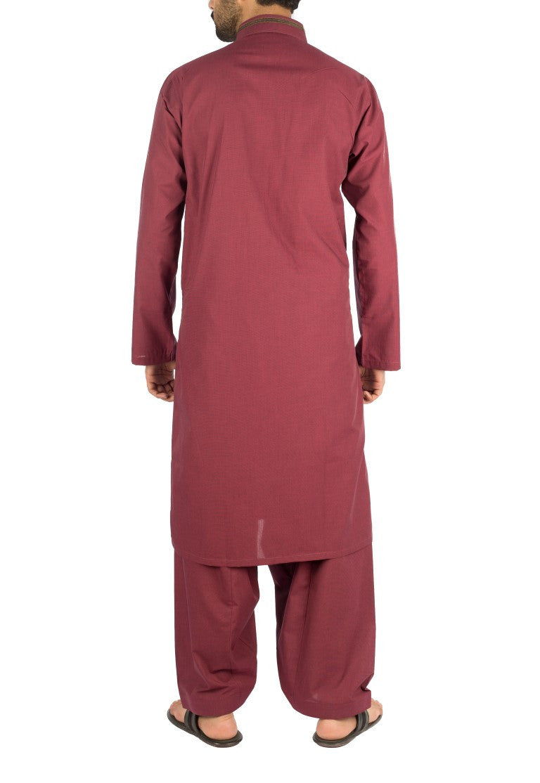 Image of Men Men Shalwar Qameez in Plum SKU: RQ-16251-Small-Plum