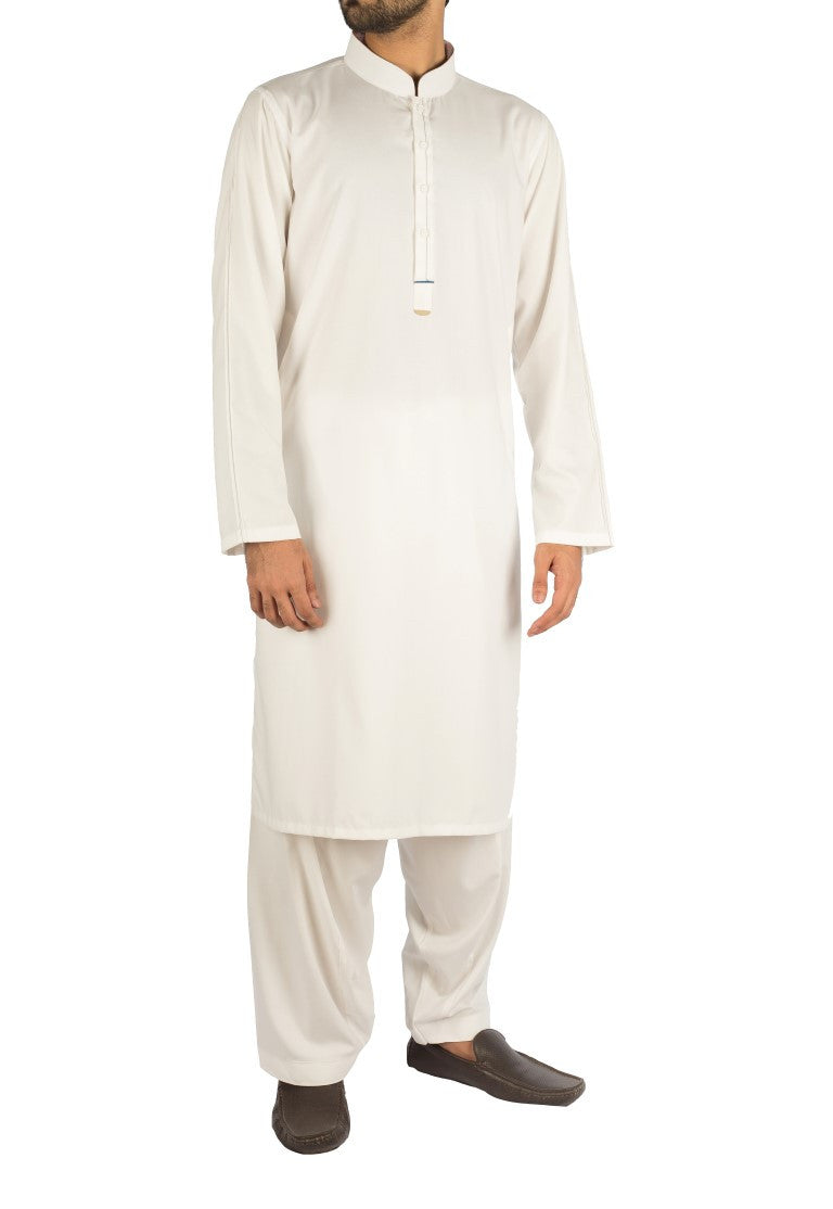 Image of Men Men Shalwar Qameez Off White Suit with slight applique work. Product Code RQ-16254