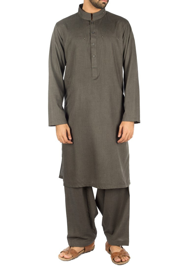 Image of Men Men Shalwar Qameez Gun Metal Stylish Suit. Code RQ-16257