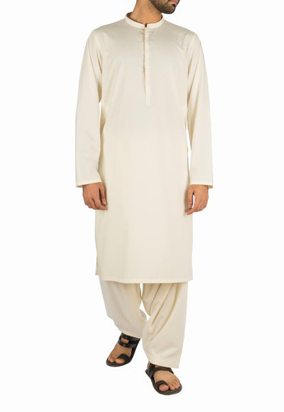 Image of Men Men Shalwar Qameez Bosky Cream Suit in blended fabric. Product Code RQ-16259