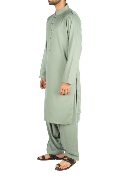 Persian Green Shalwar Qameez Suit self designed fabric. Product Code RQ-16261