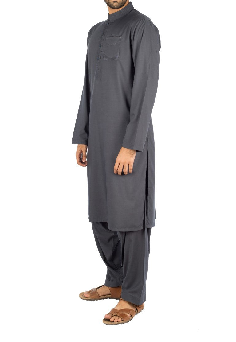 Image of Men Men Shalwar Qameez in Greyish Blue SKU: RQ-16265-Small-Greyish Blue