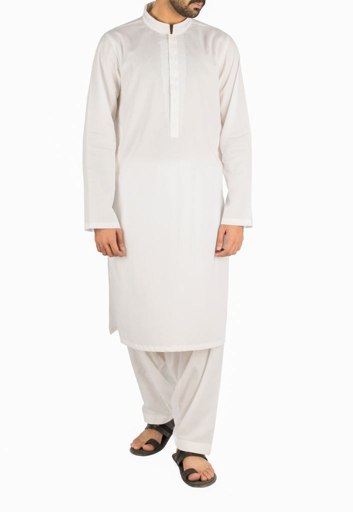 Off White Embroidered Shalwar Qameez. RQ-16269