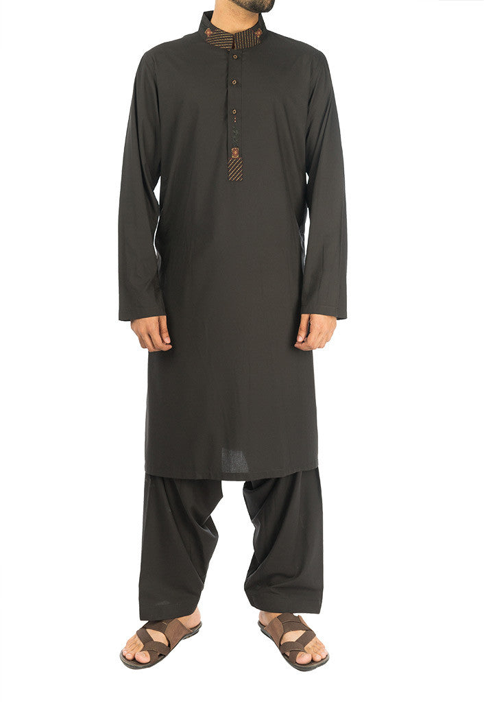 Image of Men Men Shalwar Qameez Black Suit with embroidery. RQ-16276