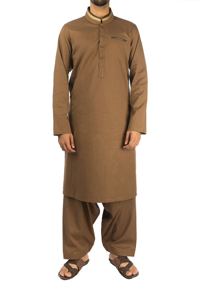 Image of Men Men Shalwar Qameez Cedar Brown Shalwar Qameez. RQ-16277