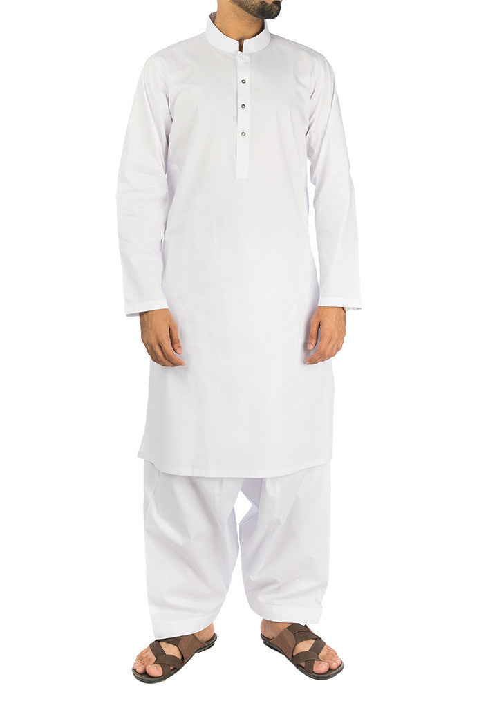 Image of Men Men Shalwar Qameez Basic White Cotton Suit. RQ-17107