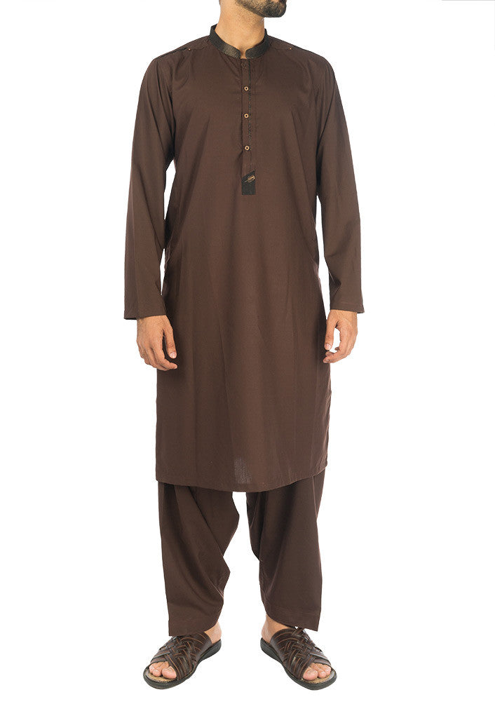 Image of Men Men Shalwar Qameez Basic Brown Shalwar Qameez. RQ-17112