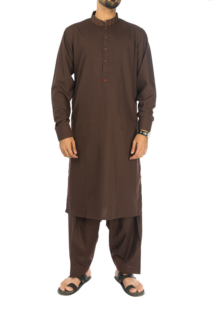 Image of Men Men Shalwar Qameez Syrian Brown Shalwar Qameez Suit. RQ-17116