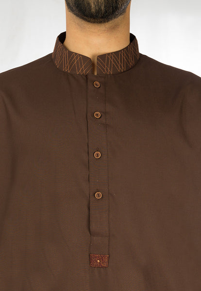 Syrian Brown Shalwar Qameez Suit. RQ-17116