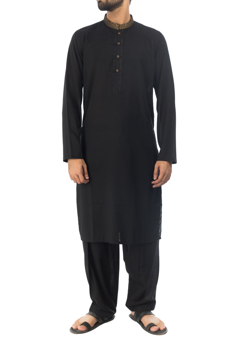 Image of Men Men Shalwar Qameez Black Shalwar Qameez Suit. RQ-17134