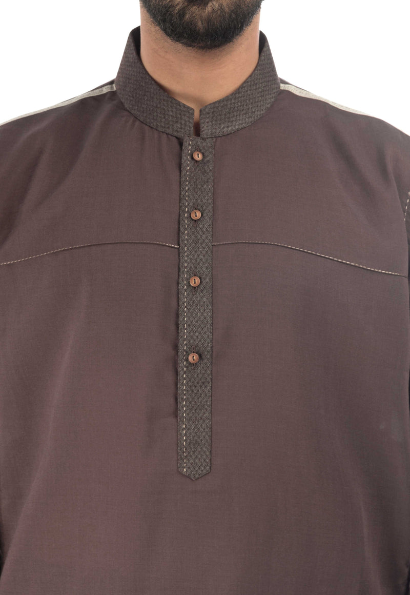 Image of Men Men Shalwar Qameez in Taupe Grey SKU: RQ-17137-Small-Taupe Grey