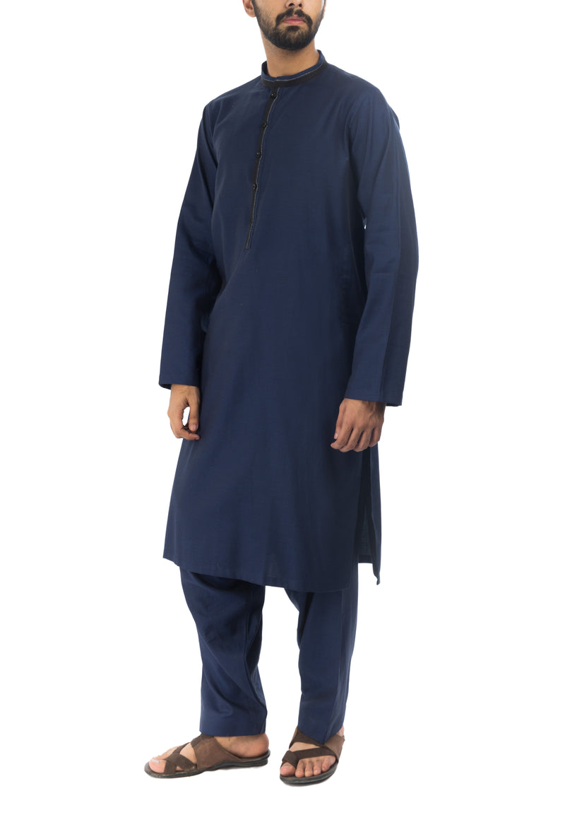 Image of Men Men Shalwar Qameez Navy Blue Shalwar Qameez Suit. RQ-17158