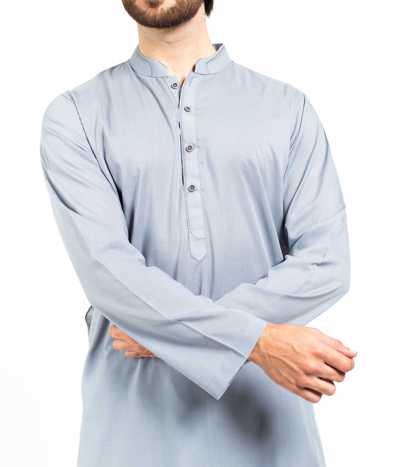 Image of Men Men Shalwar Qameez in Greyish Blue SKU: RQ-17305-Small-Greyish Blue