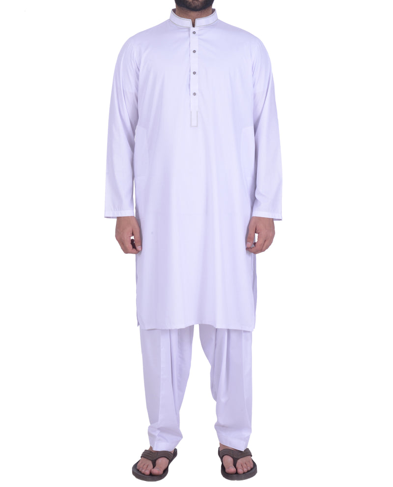 Image of Men Men Shalwar Qameez in White SKU: RQ-39113-Small-White