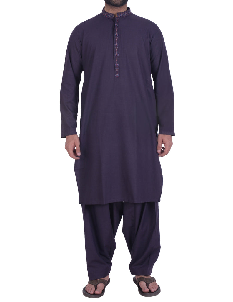 Dark Purple Shalwar Qameez Suit. RQ-39115