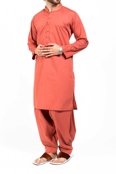 Image of Men Men Shalwar Qameez Brick Red Shalwar Qameez Suit. RQ-39128