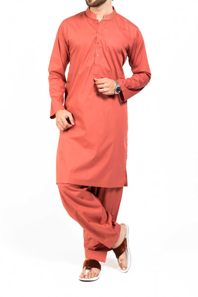 Brick Red Shalwar Qameez Suit. RQ-39128