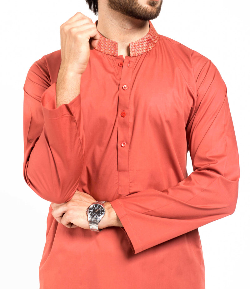 Image of Men Men Shalwar Qameez in Brick Red SKU: RQ-39128-Small-Brick Red