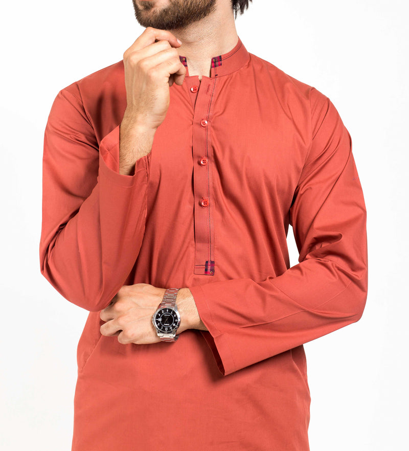 Image of Men Men Shalwar Qameez in Rust SKU: RQ-39129-Small-Rust