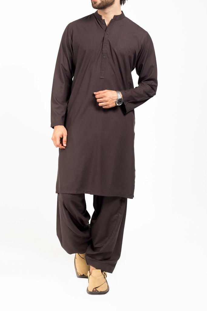 Charcoal colored Shalwar Qameez Suit. RQ-39133