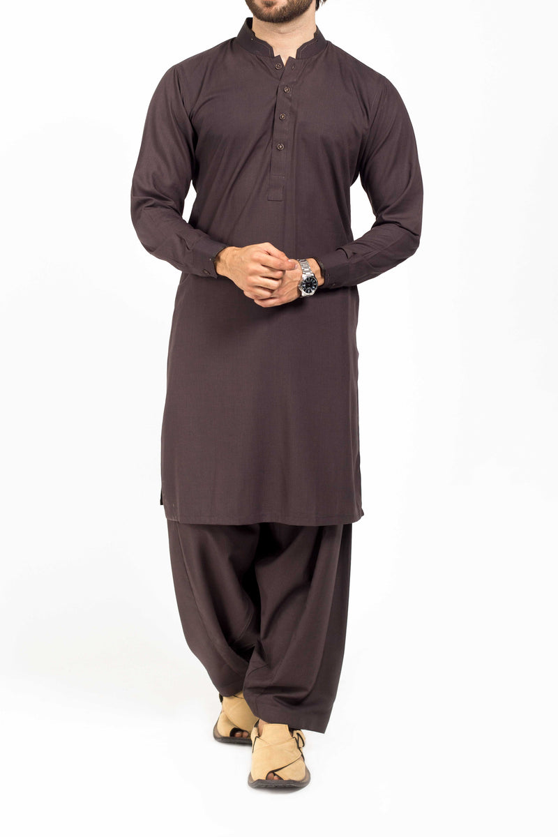 Image of Men Men Shalwar Qameez Blackish Brown Shalwar Qameez Suit. RQ-39134