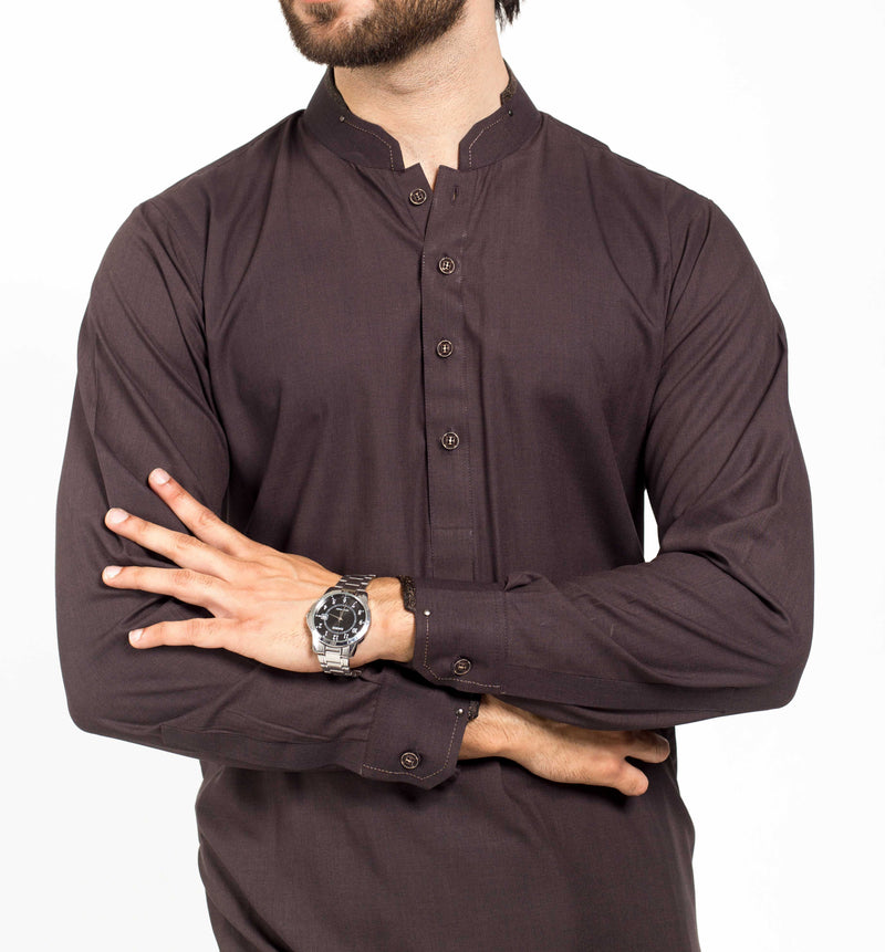 Image of Men Men Shalwar Qameez in Blackish Brown SKU: RQ-39134-Small-Blackish Brown