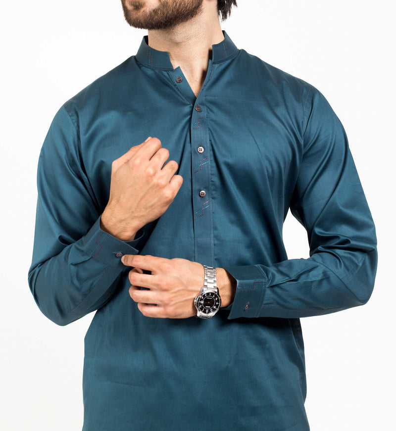 Image of Men Men Shalwar Qameez in Cyprus Blue SKU: RQ-39141-Small-Cyprus Blue