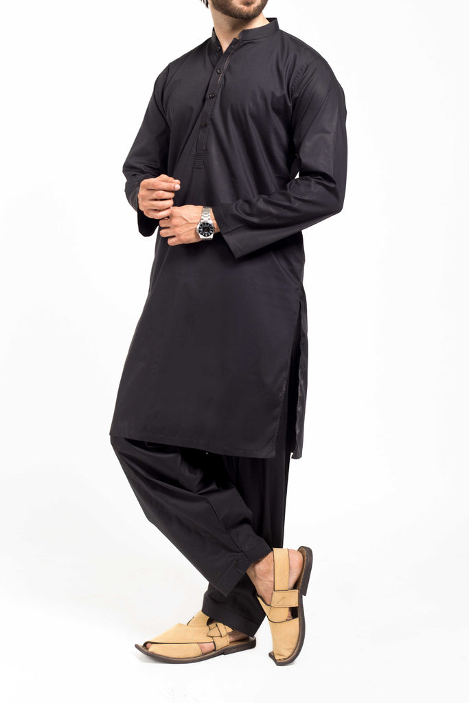 Image of Men Men Shalwar Qameez Black Shalwar Qameez Suit. RQ-39142