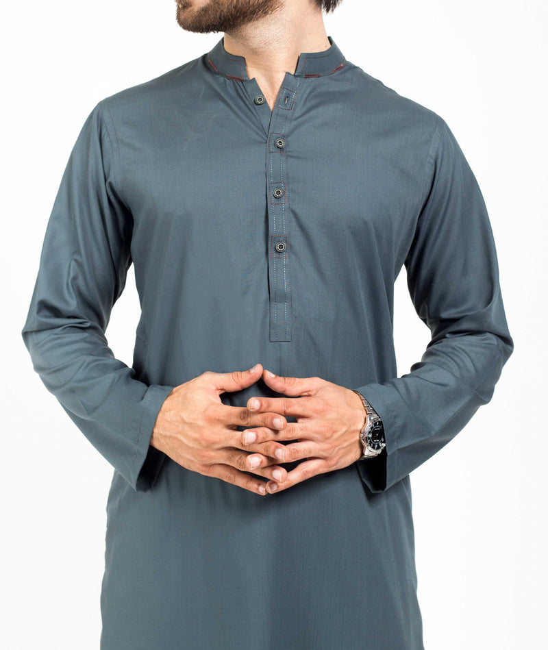 Image of Men Men Shalwar Qameez in Dull Turquoise SKU: RQ-39143-Small-Dull Turquoise