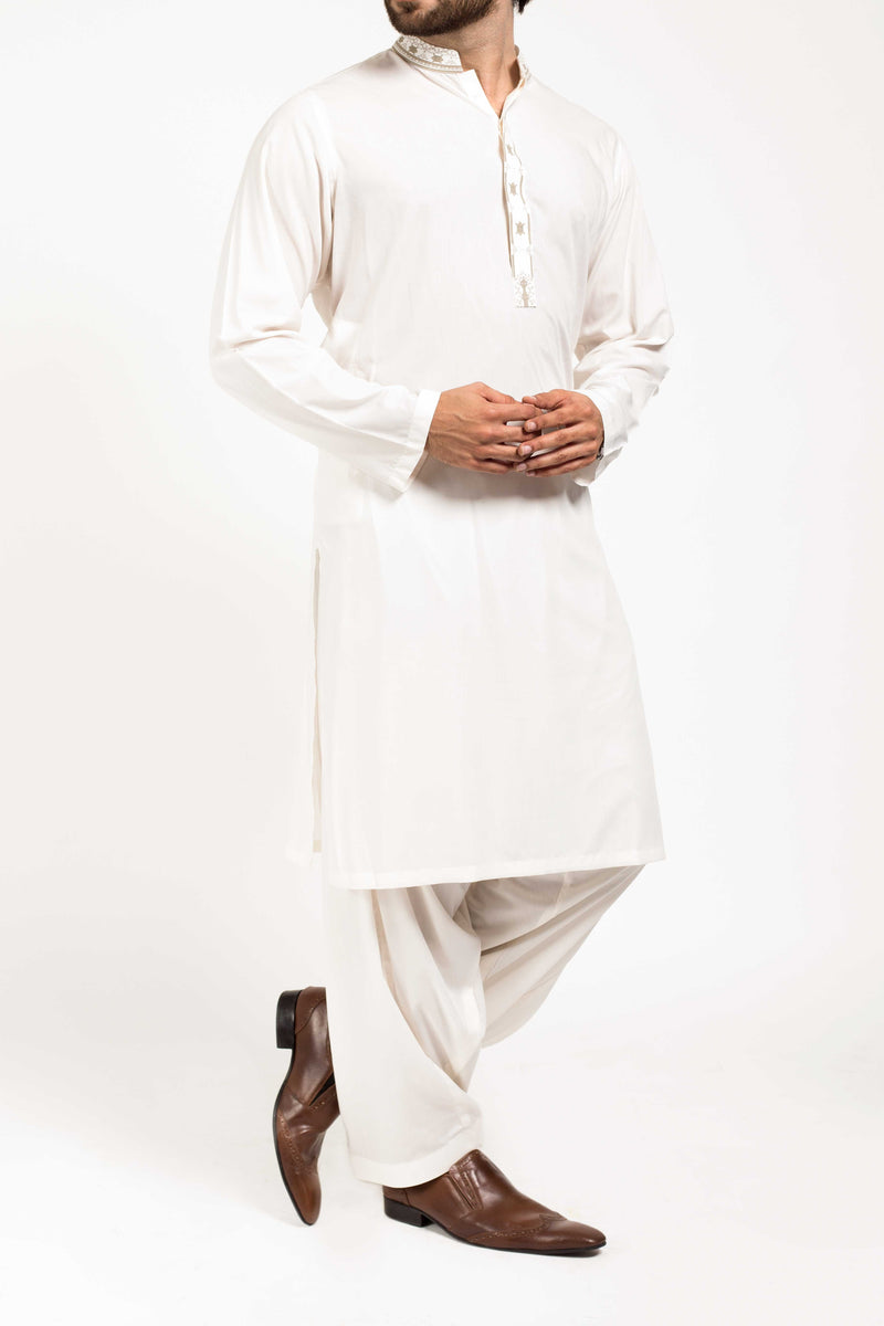 Image of Men Men Shalwar Qameez in Cream SKU: RQ-39150-Small-Cream