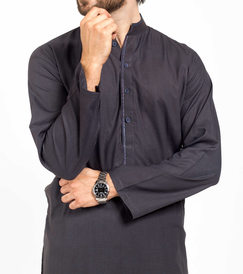 Image of Men Men Shalwar Qameez in Brownish Blue SKU: RQ-39151-Small-Brownish Blue