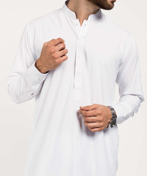 Invisible Stiches - White Shalwar Qameez Suit. RQ-39160