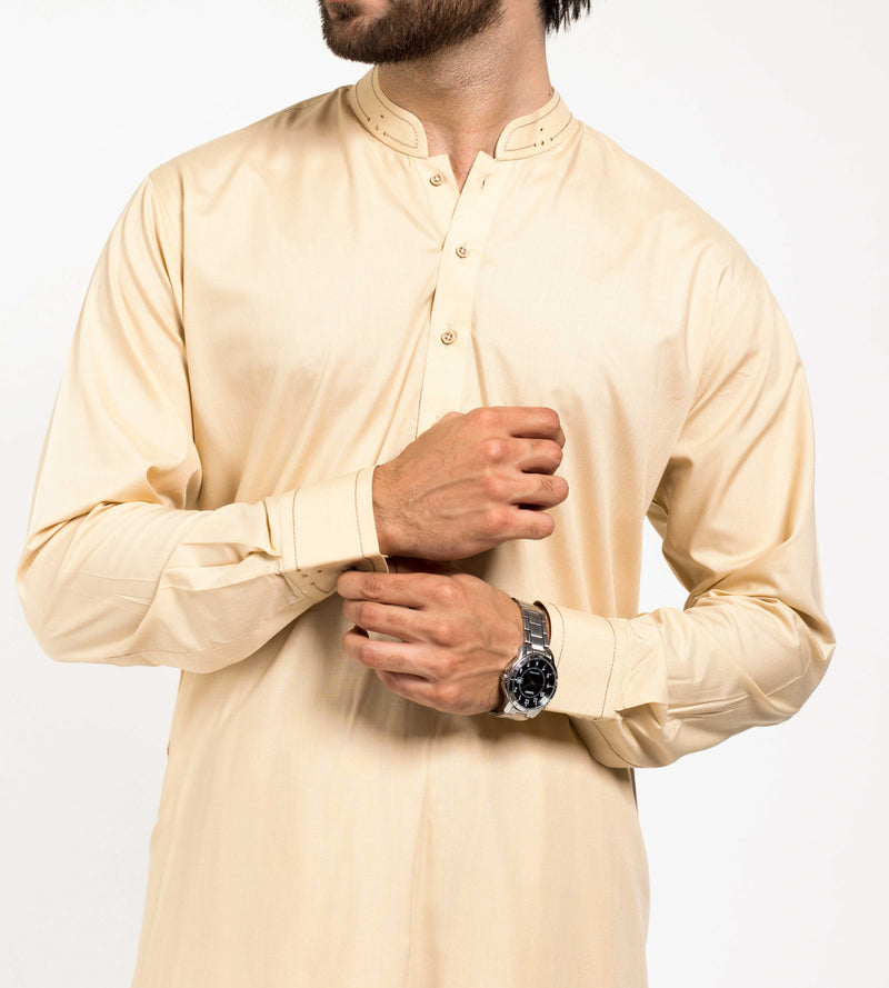 Image of Men Men Shalwar Qameez in Fawn SKU: RQ-39202-Small-Fawn