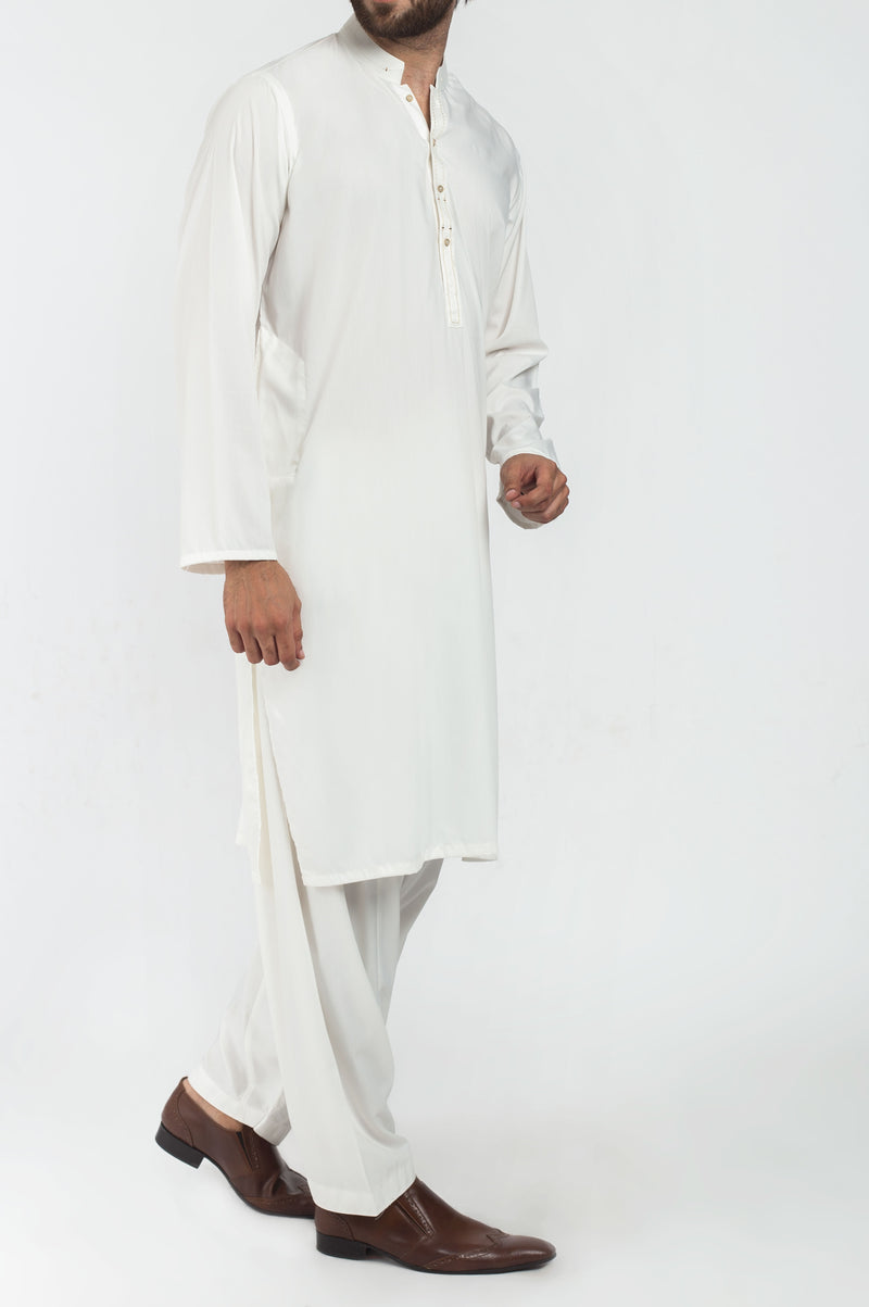 Image of Men Men Shalwar Qameez in Off White SKU: RQ-39213-Small-Off White