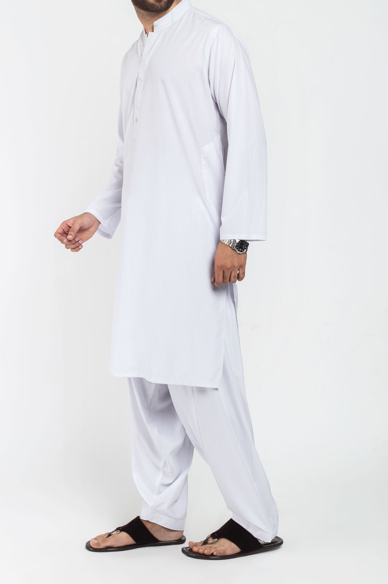 Image of Men Men Shalwar Qameez in White SKU: RQ-39215-Small-White
