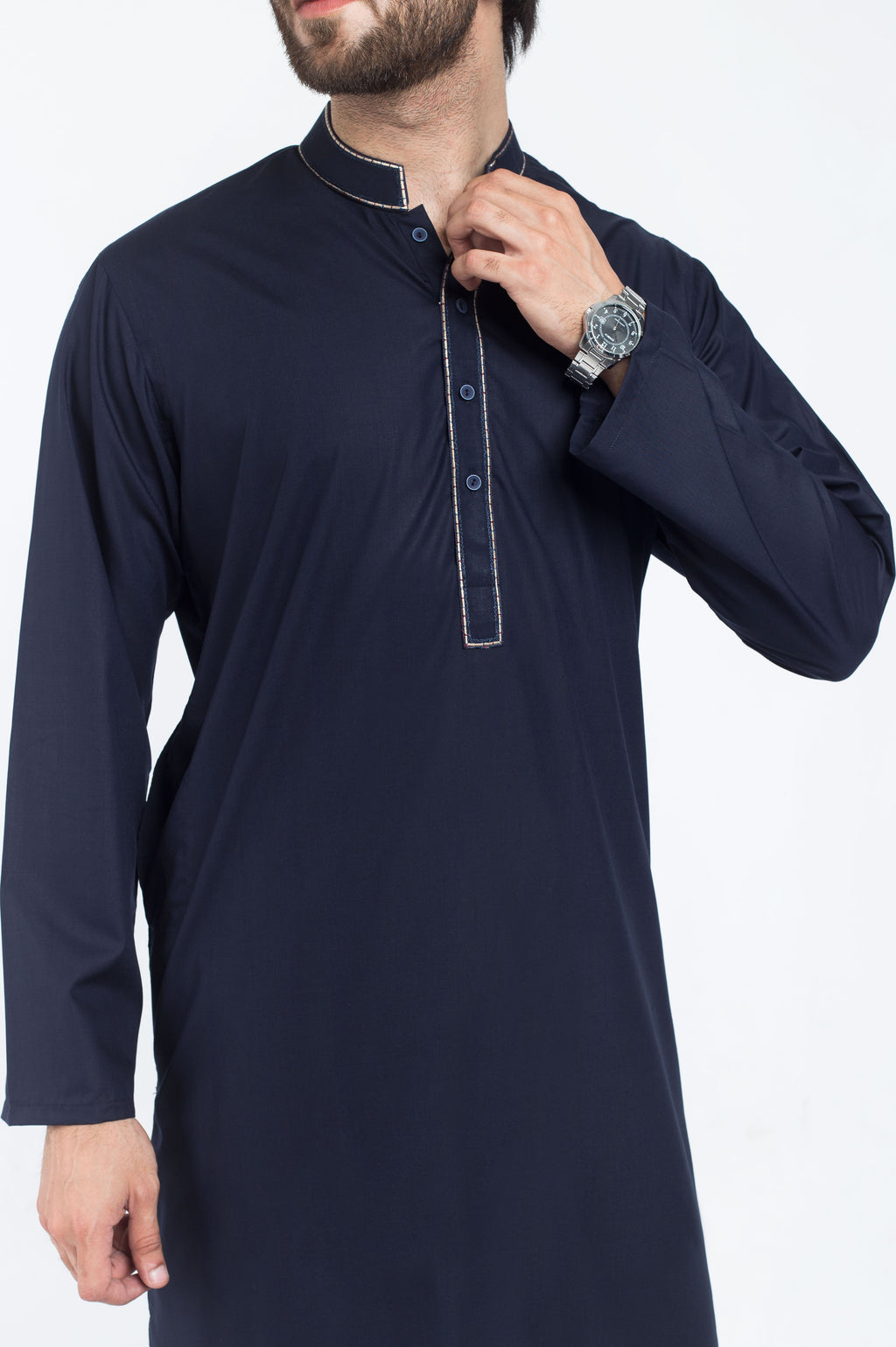 Image of Men Men Shalwar Qameez Dark Blue Shalwar Qameez Suit. RQ-39216