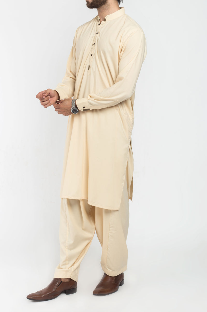 Image of Men Men Shalwar Qameez in French Cream SKU: RQ-39217-Small-French Cream