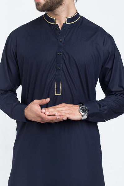 Image of Men Men Shalwar Qameez Navy Blue Shalwar Qameez Suit. RQ-39222