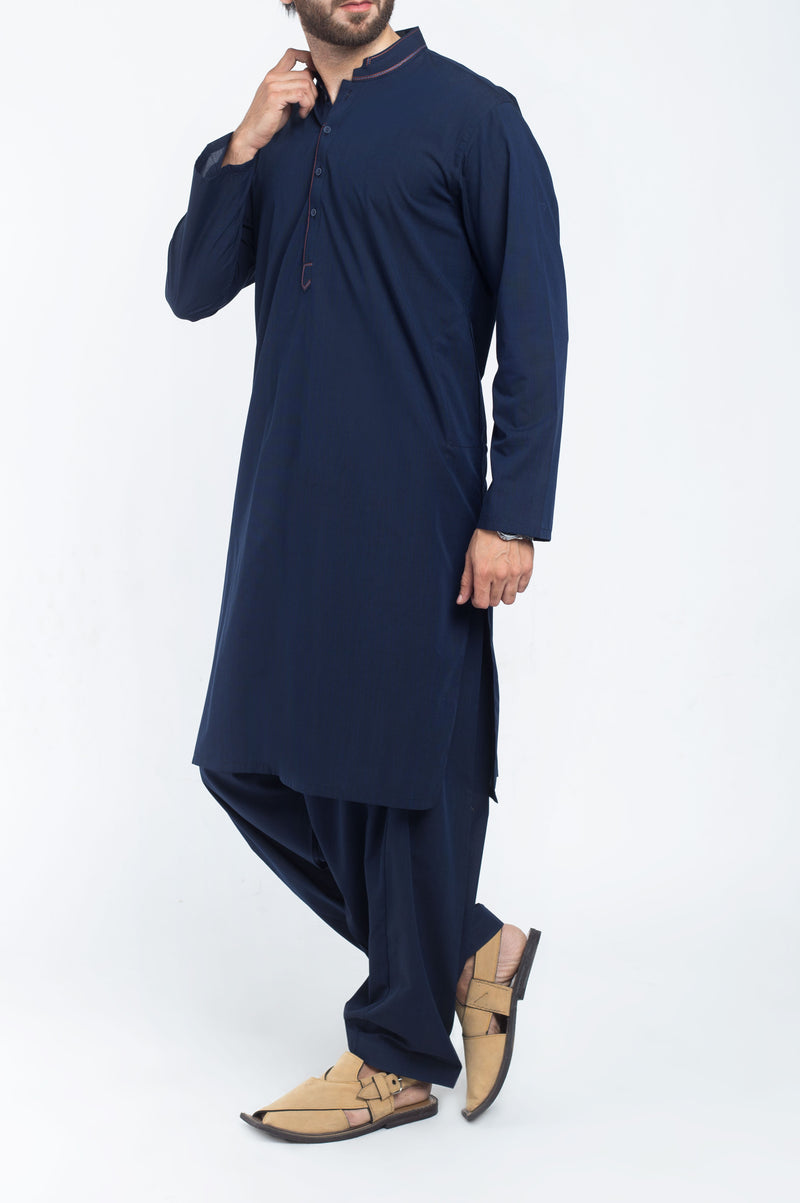Image of Men Men Shalwar Qameez in Flag Blue SKU: RQ-39223-Small-Flag Blue