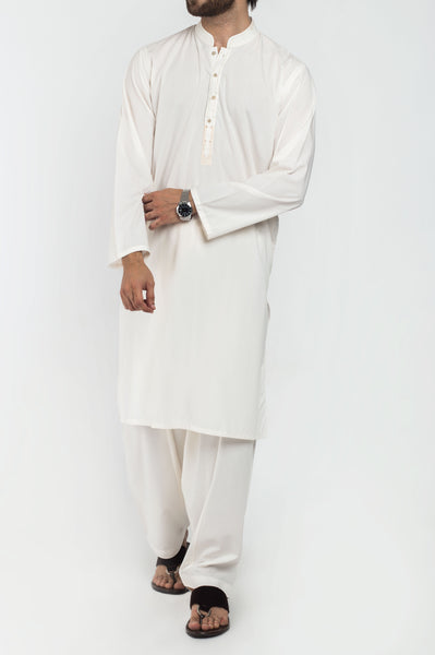 Off White Shalwar Qameez Suit. RQ-39224