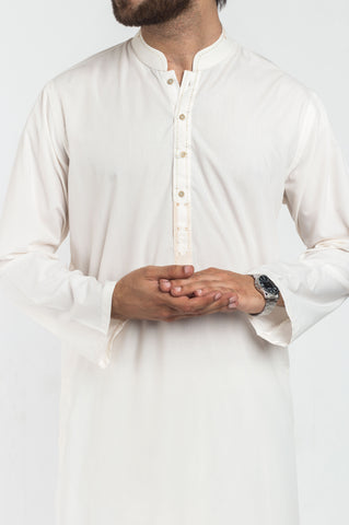 Image of Men Men Shalwar Qameez Off White Shalwar Qameez Suit. RQ-39224