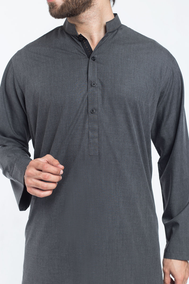 Image of Men Men Shalwar Qameez in Militia Grey SKU: RQ-39305-Small-Militia Grey