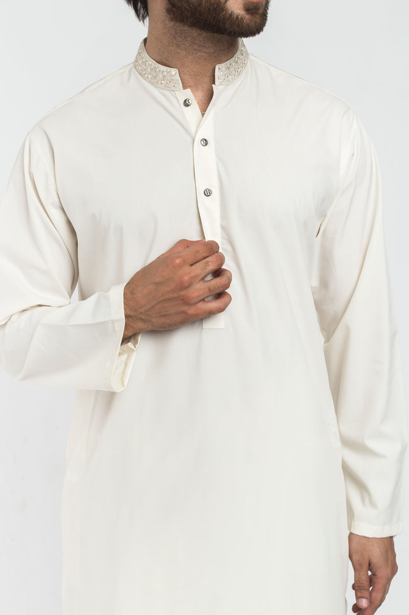 Off White Shalwar Qameez Suit. RQ-39307