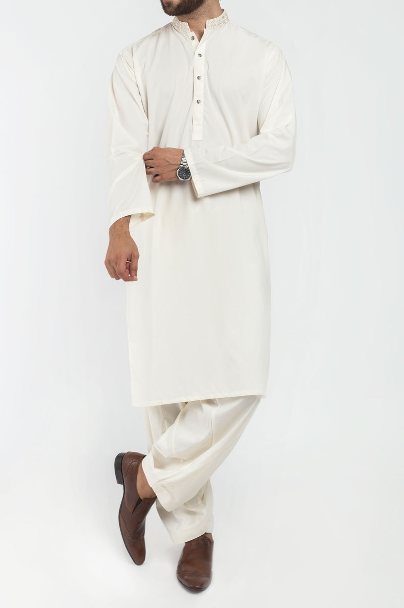 Image of Men Men Shalwar Qameez Off White Shalwar Qameez Suit. RQ-39307