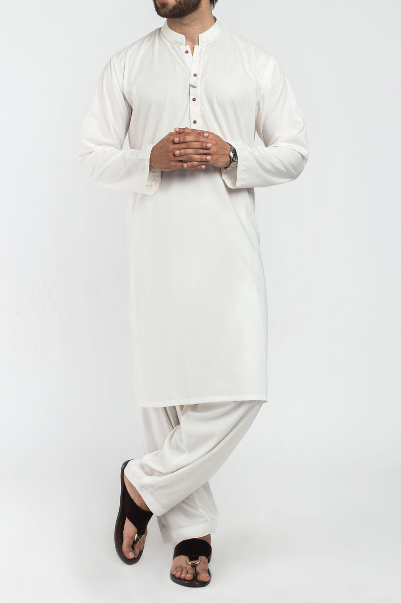 Image of Men Men Shalwar Qameez in Off White SKU: RQ-39401-Small-Off White